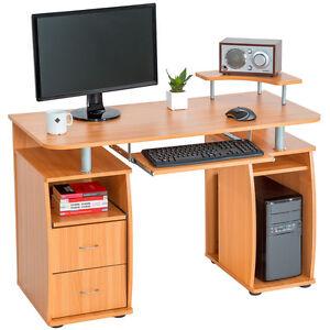 Computertisch pc tisch arbeitstisch mit schubladen for Pc tisch buche
