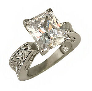 925-Solid-Sterling-Silver-Ring-Engagement-Wedding-Cubic-Zirconia-Love-Jewelry