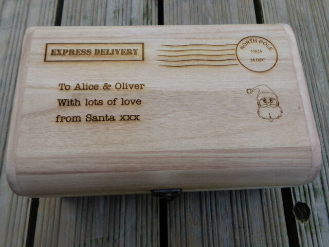Personalised Engraved Wooden Treasure Chest Christmas Eve Treats Box 30cm stamp
