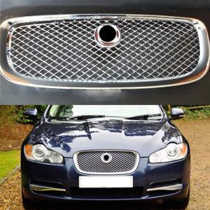 Fit-For-Jaguar-XF-2008-09-2010-2011-Front-Bumper-Upper-Mesh-Chrome-Grille-Grill