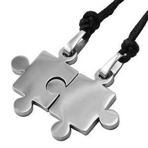 Puzzle Piece Shaped Autism Awareness Curved Stainless Steel Pendant Necklace