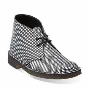 reputable site dc90c 827d5 Details about NEW WITH BOX CLARKS ORIGINALS DESERT PATTERN BLACK/WHITE  LEATHER SIZE 40 UK6,5C