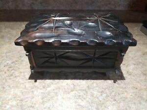 Vintage-Dark-Brown-Wooden-Trinket-Box-Jewelry-Treasure-Chest-Pirate-Rectangle