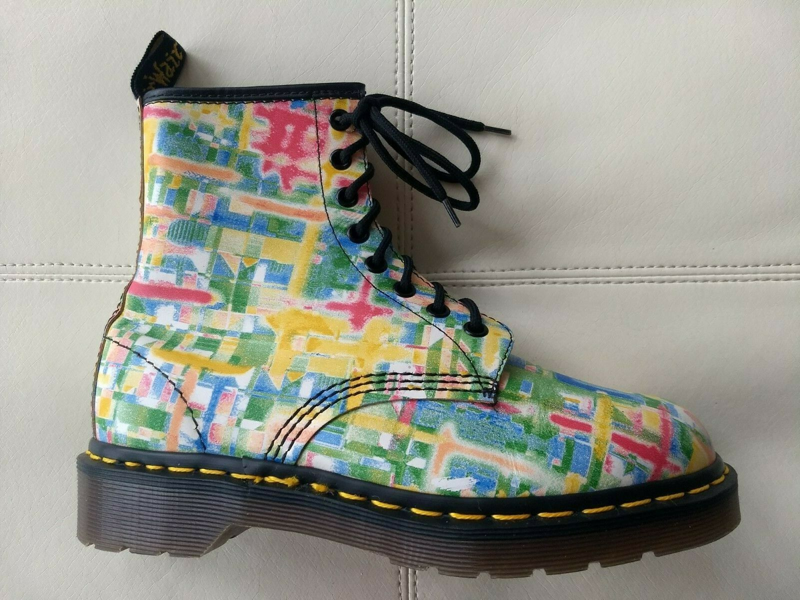 DOC DR. MARTENS MULTI-Farbe GRID BRUSH STROKES Stiefel VINTAGE MADE IN ENGLAND 5UK