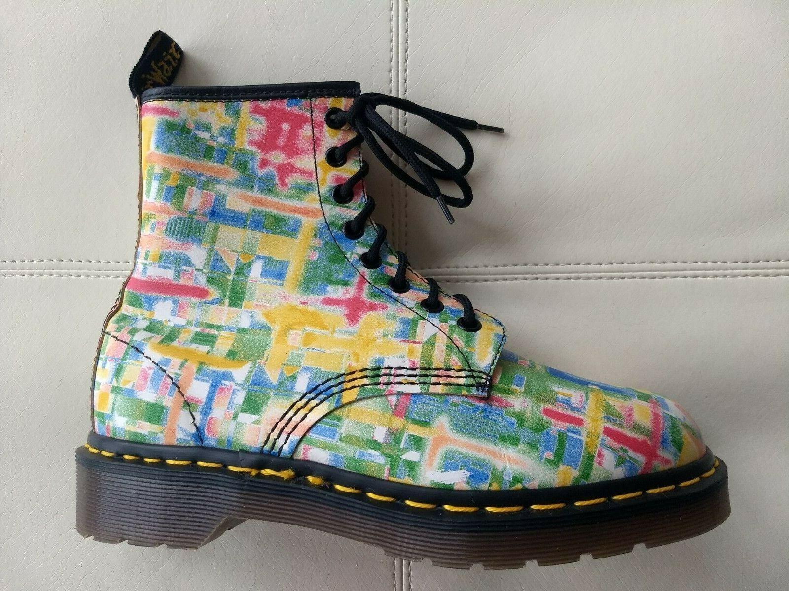 Doc Dr. Martens Multi-Color Multi-Color Multi-Color Rejilla pinceladas botas Vintage Hecho En Inglaterra 5UK  lo último