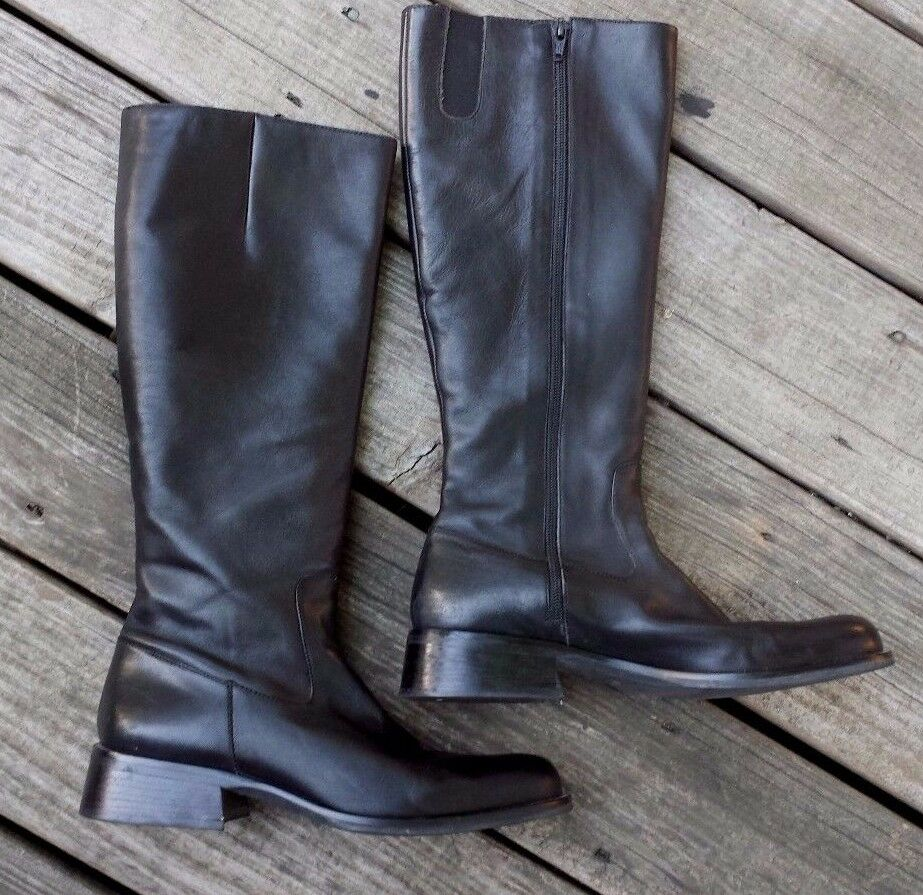 Vintage 1980's Nine West Tall Black Leather Riding Boots  Kameo  9.5 M Brazil