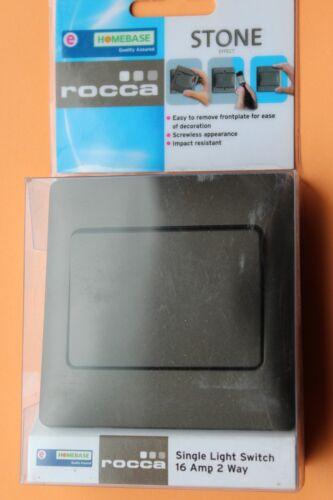 Obtenez Rocca 1 G simple 2 W Largeur 16 A Rocker Interrupteur De Lumière Pierre Finition Métallique Marron