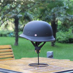 807Low Profile German Novelty Flat Black Motorcycle Half Helmet Cruiser Chopper