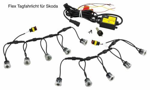 LED de circulación diurna Flex 10 x SMD 12v aprobado para Skoda tfl8