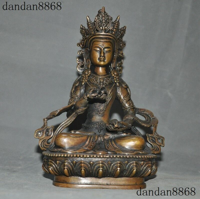 "8/"" Old Tibet Buddhism Bronze Vajrasattva Kwan Yin Guanyin buddha statue"