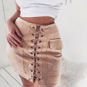 f111646cf Luxe Brand Nude Faux Suede Lace Up High Waisted Mini Skirt Bodycon ...