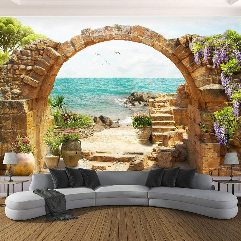 3D Stone Arch Sea View Beach Front Wall Mural Wallpaper Living Room Bedroom