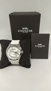 COACH-MADDY-L-Ladies-Stainless-Rubber-Watch-in-Silver-White