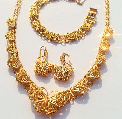 Wedding/Party Womens 14k real gold GF butterfly necklace earrings bracelet set