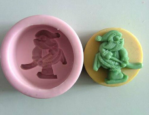 Skiing Santa Claus Soap Mould Flexible Silicone Cookie Mold Chocolate R0057