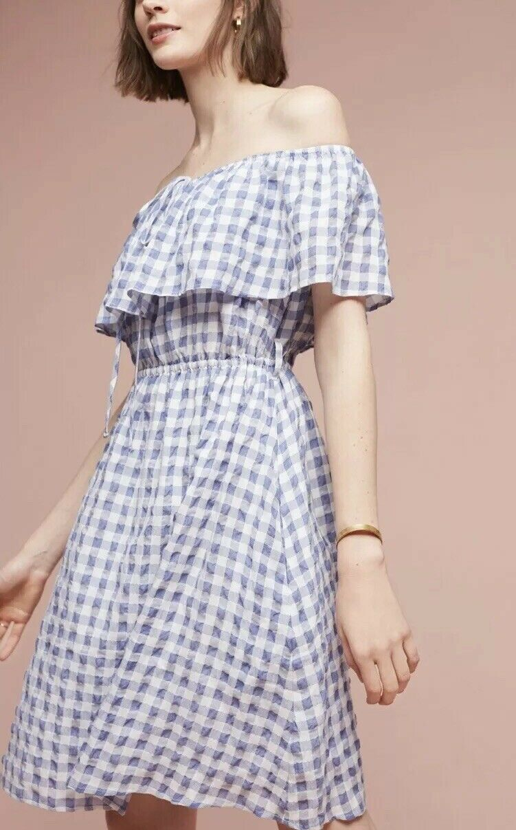 4. NWT Anthropologie Kinsey Off-The-Shoulder Dress Tylho Plaid Gingham  M