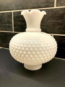 Milk Glass Globe Oil Lamp Chimney Student Library White Hobnail Ruffled