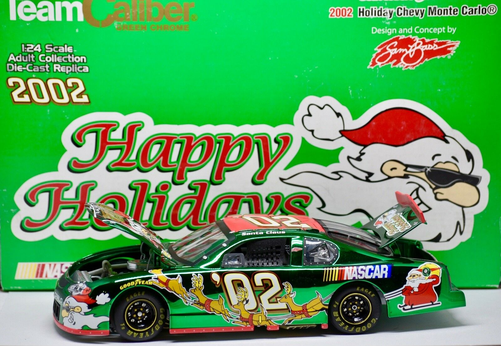 2002 Team Caliber   NASCAR Sam Bass Holiday Monte Carlo 1 24 Scale Santa Claus