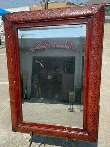 Unique Beveled Glass Mirror in Wood Frame