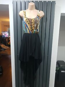 John-Zack-Gold-Black-Chain-Leopard-Print-Waterfall-Dress-Size-10