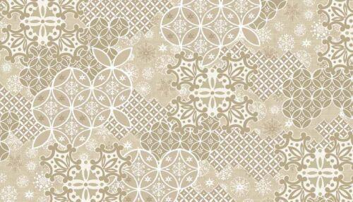 Per 1//4 Metre Makower Fabric Christmas Scandi 4 Montage Cream