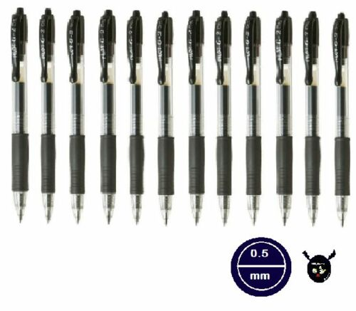 Pilot G2 Retractable Rollerball Gel Ink Pen 0.5mm BLACK pack12