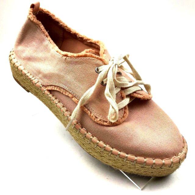 f8bd4cd78 Dolce Vita Women's Sz 8.5 M Salmon Canvas Espadrilles Platform Sneaker Shoes  134