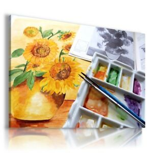 PAINTING DRAWING FLOWERS SUNFLOWERS NATURE  PRINT Canvas Wall Art R193 MATAGA