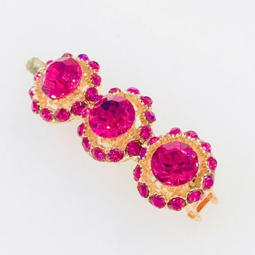 Magnet Hair Clip Hairpin  Rhinestone Crystal Barrette Jeweled Gold Hot PINK