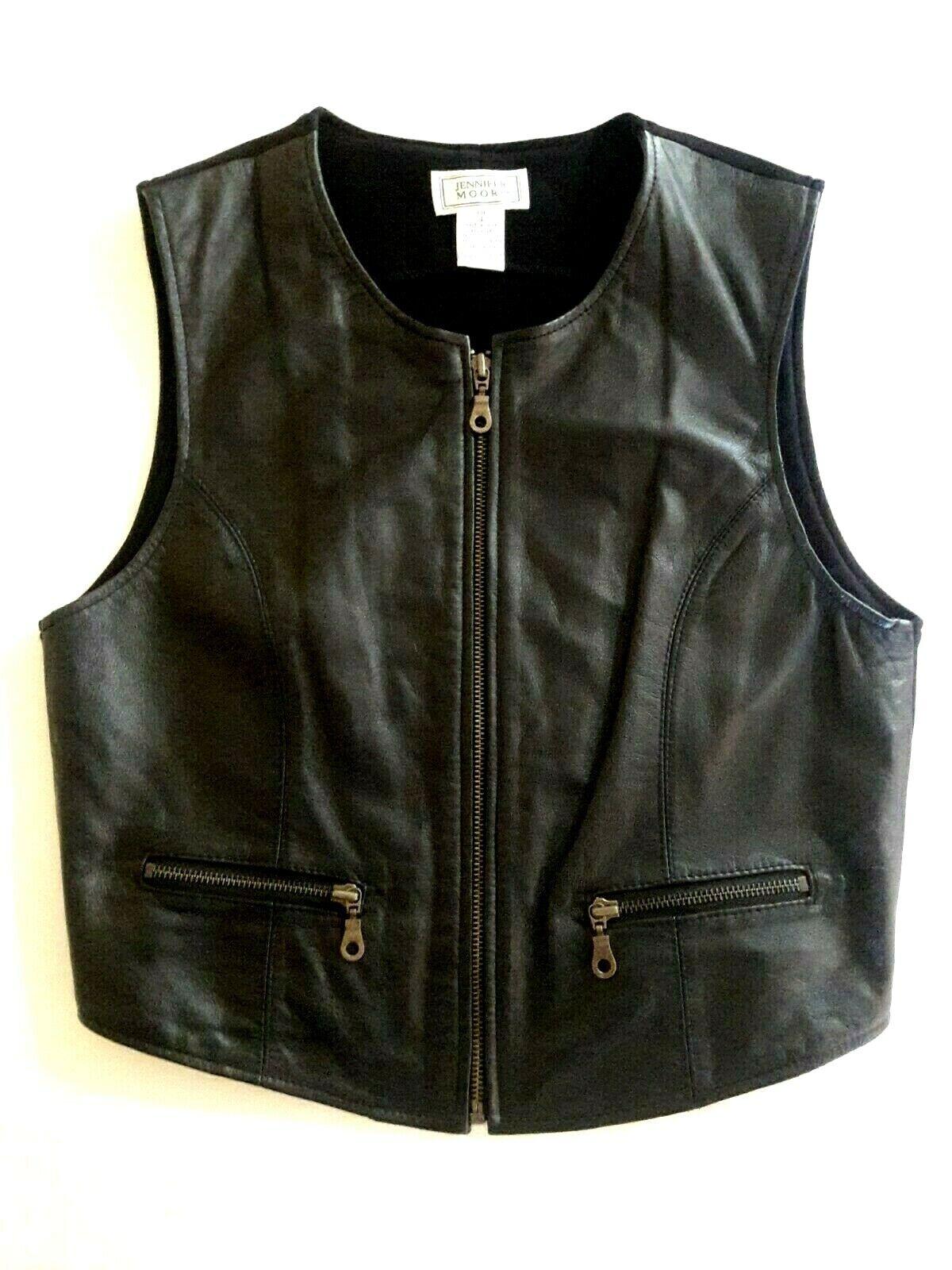 Vintage black genuine leather vest womens size 4 zip front brass hardware