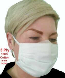 Washable-Face-Mask-Breathable-Three-Layers-Protection-Office-Street-Salon-White