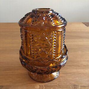 Vintage-Indiana-Glass-Stars-amp-Bars-Fairy-Light-Lamp-Amber-Glass-7-034-2-Piece