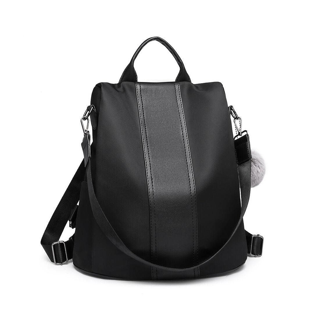 Casual Women Ladies Anti-theft Backpack Nylon Pompom Handbag Travel Shoulder Bag