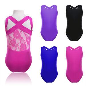 UK Kids Girls Lace Back Tank Leotard Gymnastics Ballet Dance Jumpsuit Sleeveless