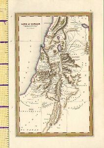 c1832 HAND COLOURED MAP ~ LAND OF CANAAN SHOWING HISTORIC ABRAHAM ISAAC & JACOB