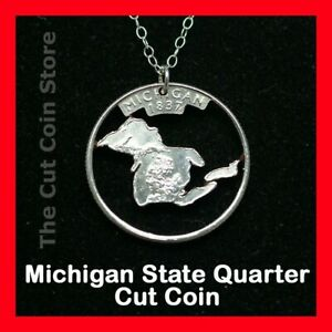 MICHIGAN-Cut-Coin-Silver-Necklace-MI-Charm-Pendant