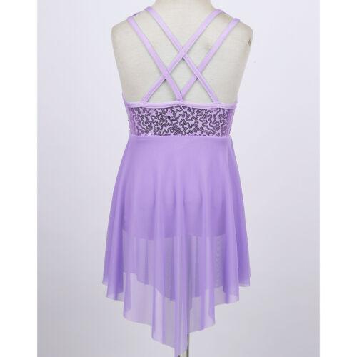 UK Girls Glittery Lyrical Dance Dress Kid Ballet Leotard Skirt Dancewear Costume