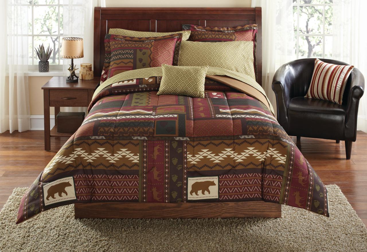 Ensemble de couette Queen Size 8Pc Literie rustique Drap de lit Southwest Cabin Bear Lodge