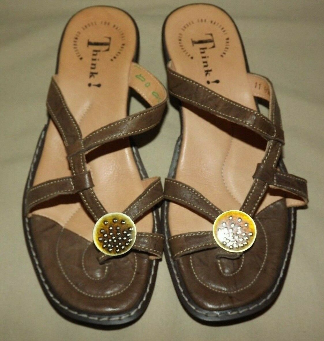WOMENS WORN ONCE PERFECT  THINK   BROWN LEATHER, LEATHER INSOLE SIZE EURO 38 EUC