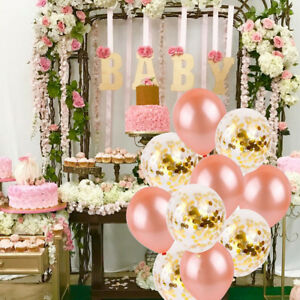 Image Is Loading Rose Gold Series Foil Latex Balloon Set Heart