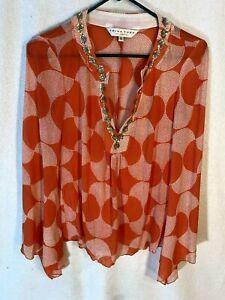 Trina Turk Women's Orange Polka Dot Silk Sequined Bell Sleeve Blouse S