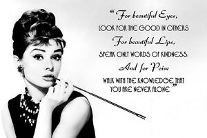 Audrey Hepburn 1 For Beautiful Eyes Quote Wall Art Canvas