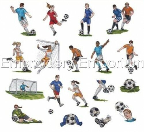 MACHINE EMBROIDERY DESIGNS ON CD OR USB GAME DAY SOCCER COLLECTION