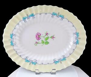 ROYAL-DOULTON-PICARDY-PINK-FLORAL-CENTER-TURQUOISE-RIMS-15-034-OVAL-PLATTER-1946-60