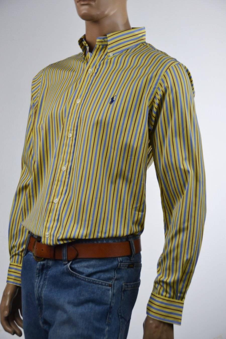Ralph Lauren Classic Fit Yellow,bluee & Red Stripe Dress Shirt NWT
