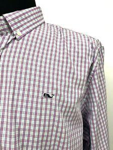 Vineyard-Vines-Mens-Whale-Shirt-XXL-Purple-Plaid-Preppy-Slim-Fit-New-98-Bright