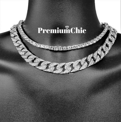 14k Silver COMBO SET Tennis Chain /& Miami Cuban Choker ICED Mens Quavo