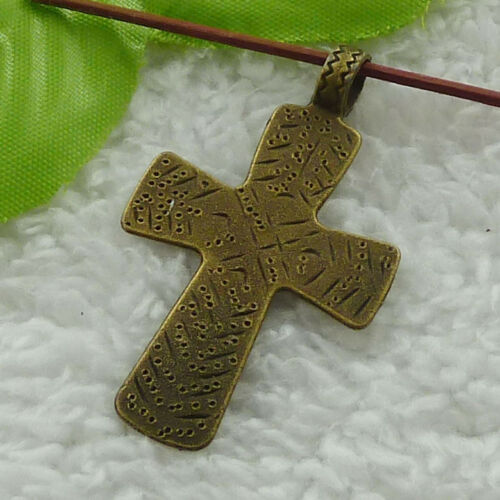 Free ship 92 pieces bronze plated cross charms pendant 49x29mm B3202