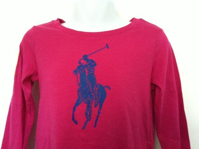 f142fb93 Ralph Lauren Girls Shirt Hot Pink Lg Blue Logo Graphic Yellow #3 LS XL (
