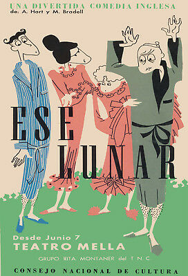 POSTER.Stylish Graphics.Ese Lunar Theater.English comedy Art Decor.1470